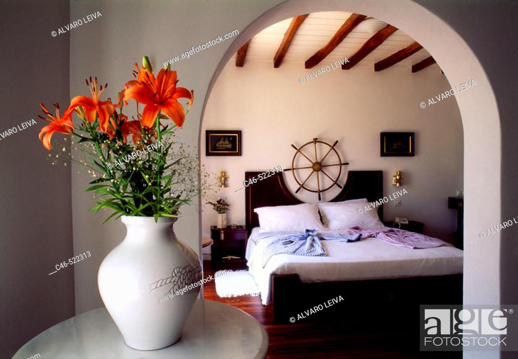 Stock Photo: Hotel. Beach, Plati Yialos. Mikonos. Cyclades Islands. Greece.