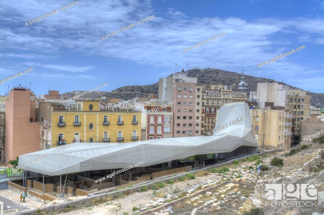 Stock Photo: HDR image of the Roof structure over the Roman Forum Barrio del Foro Romano in Cartagena, Murcia, Spain.