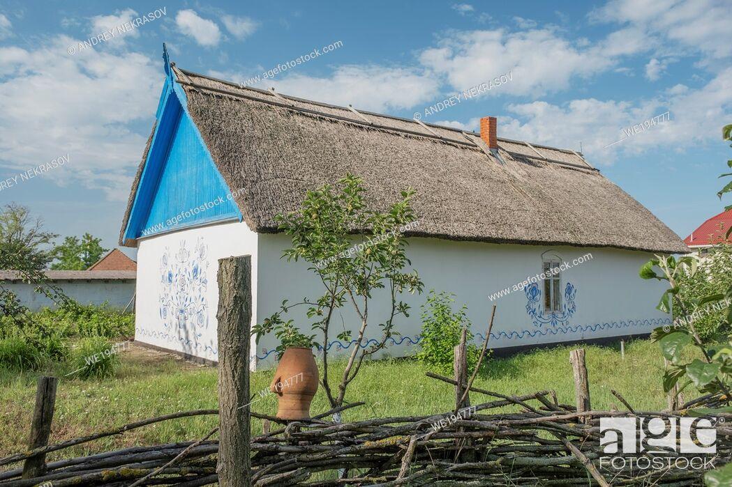 Stock Photo: FROMUSHIKA NOVA VILLAGE, ODESSA OBLAST, UKRAINE - JUNE 19, 2020: Ukrainian Village of the 19th Century - Ethnographic Museum.