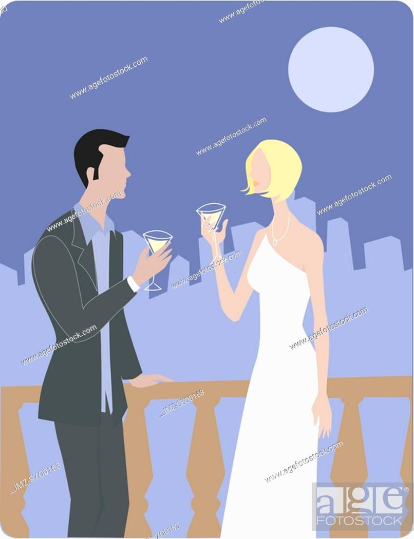 Stock Photo: A man and woman drinking martinis on a terrace.