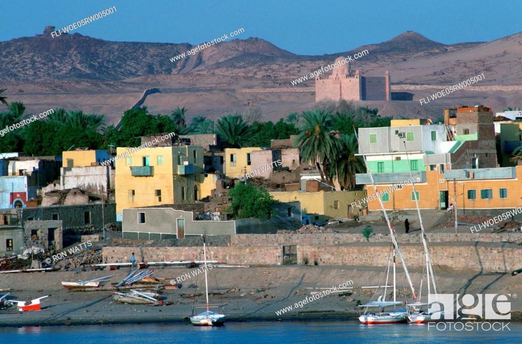 Stock Photo: R.Watts, Feluccas on Nile, Aswan, Egypt.