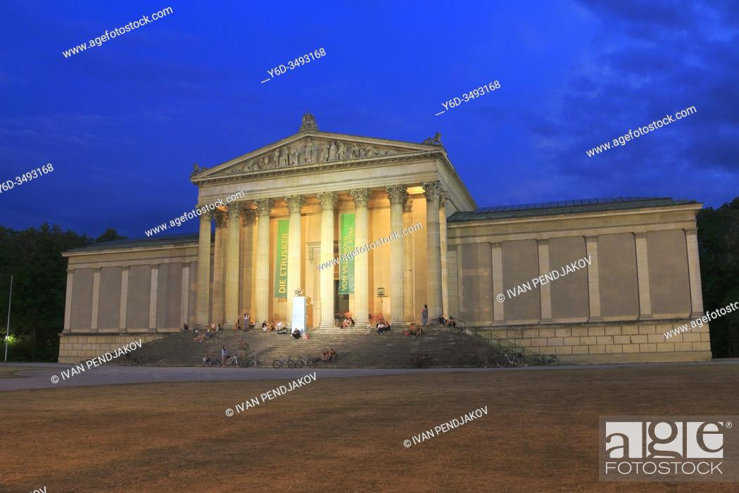 Stock Photo: The State Collection of Antiquities at Night, Munich, Germany.