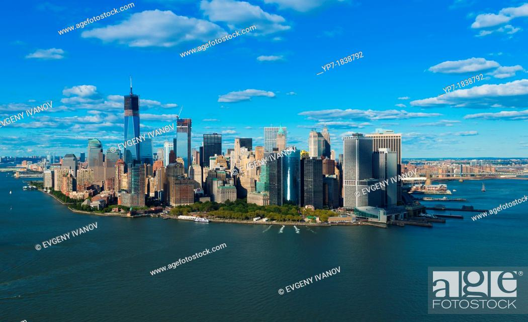 Stock Photo: South part of Manhattan and Brooklyn bridge aerial panorama, New York.