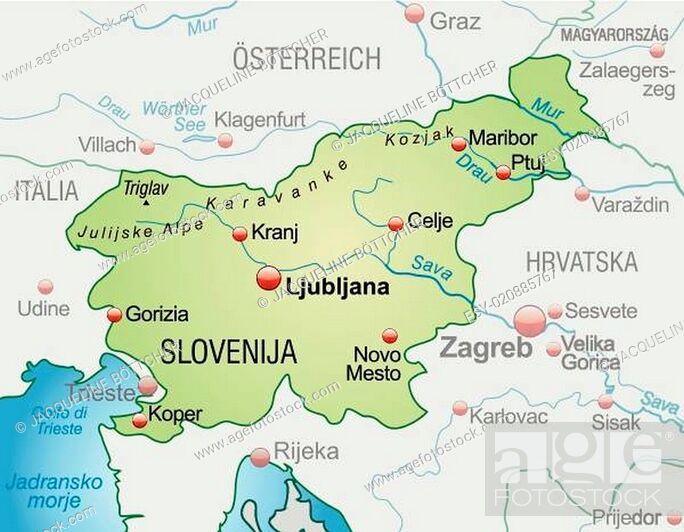 Karte Von Slowenien Als Ubersichtskarte In Pastellgrun Stock