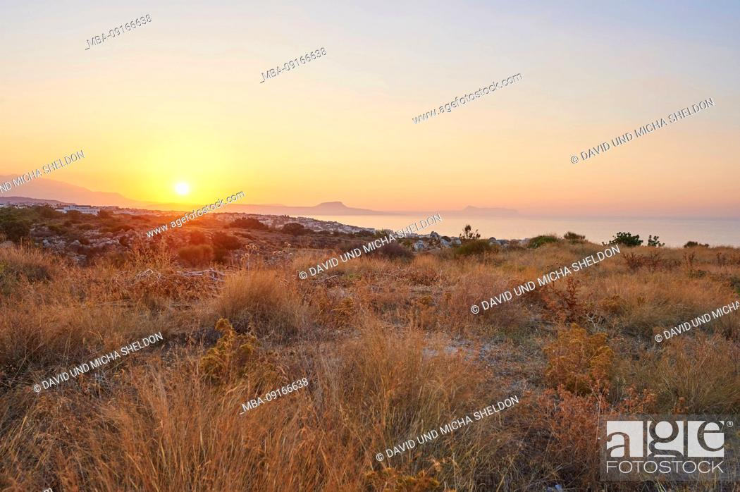 Stock Photo: Landscape, sunset on a coast, Crete, Greece.