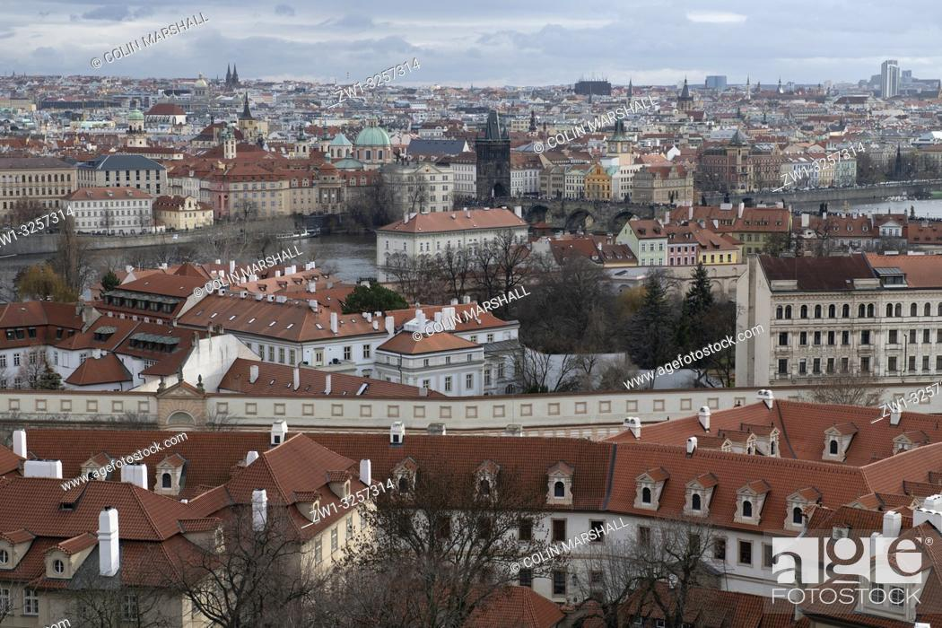 Stock Photo: View of Vltava River, Prague Castle, Prague, Czech Republic.
