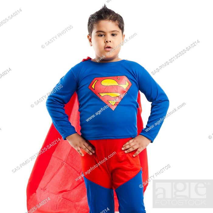 Stock Photo: Boy dressed as a superman standing with his arm akimbo.