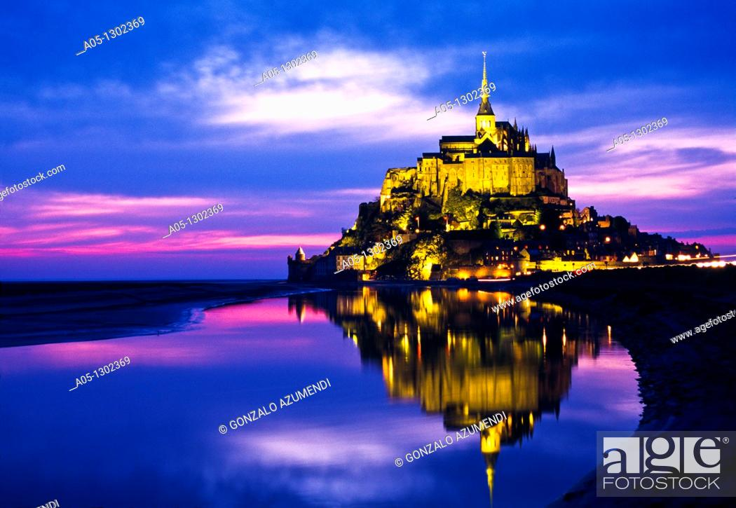 Stock Photo: Mont Saint Michel, view with convent, built: 1017-1520, exterior view, Europe, Normandy, Benedictine abbey, monastery, World Heritage Site.