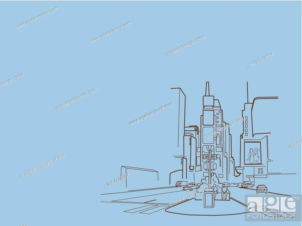 Stock Photo: An illustration of a city scene.