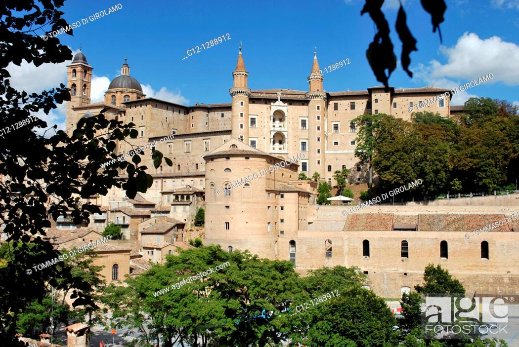 Stock Photo: Italy, Marche region, Urbino, panorama, Ducal Palace in background.