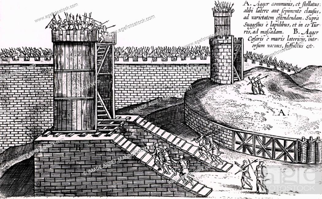 Stock Photo: Roman siege towers positioned to give attackers the advantage of height above the city walls  From 'Poliorceticon sive de machinis tormentis telis' by Justus.