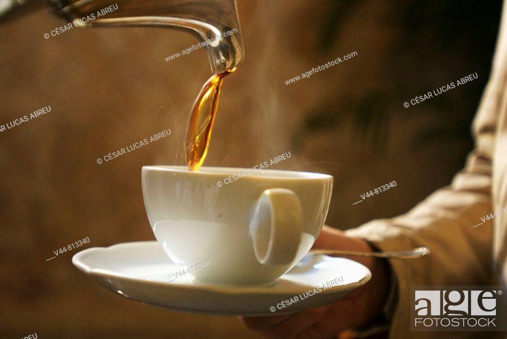 Stock Photo: Coffee, Hotel Santa Teresa, Cartagena de Indias, Colombia.