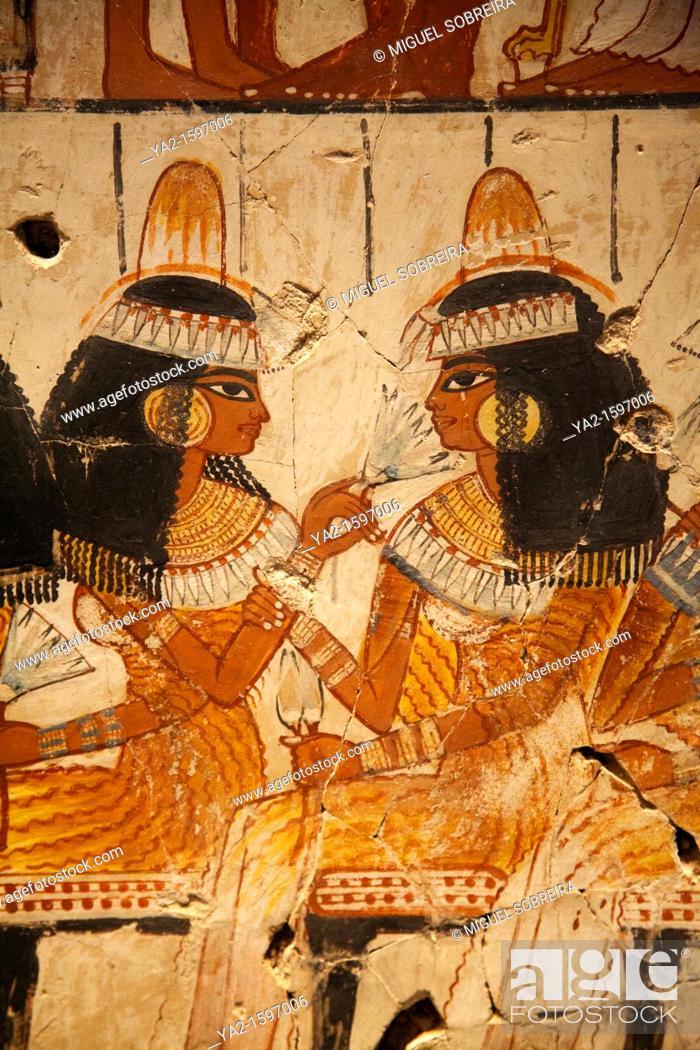 Stock Photo: Feast for Nebamun mural at British Museum - detail of three women.