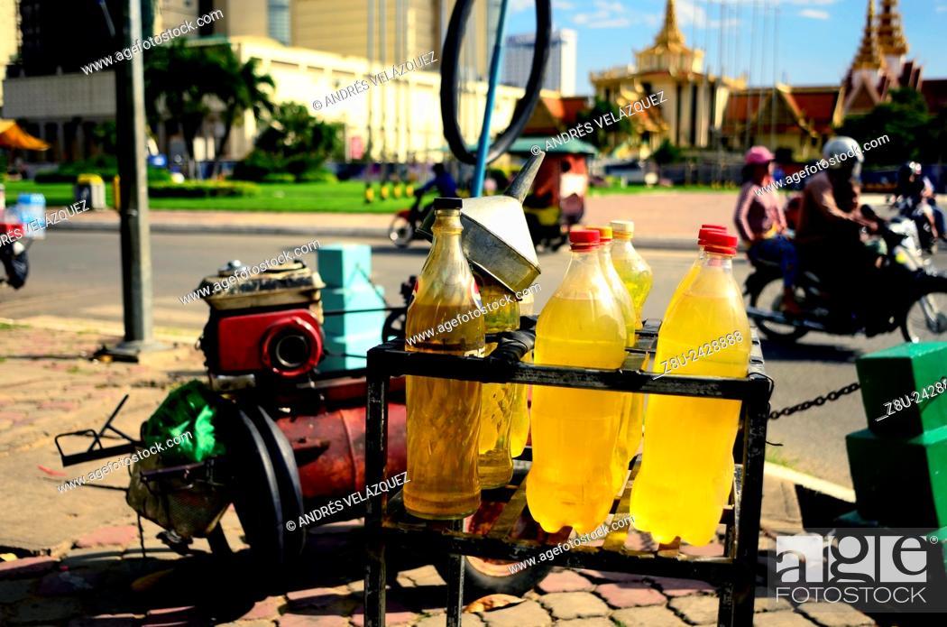 Gasoline bottles in gas store  Phnom Penh  Cambodia, Stock