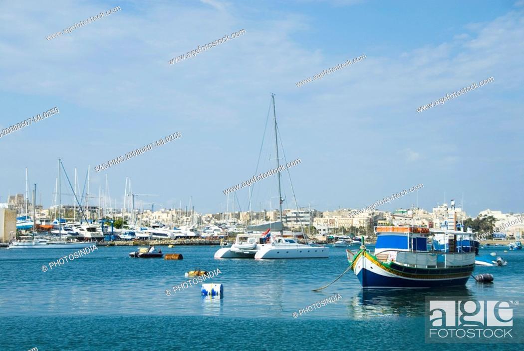 Stock Photo: Yachts in the sea, Valletta, Malta.