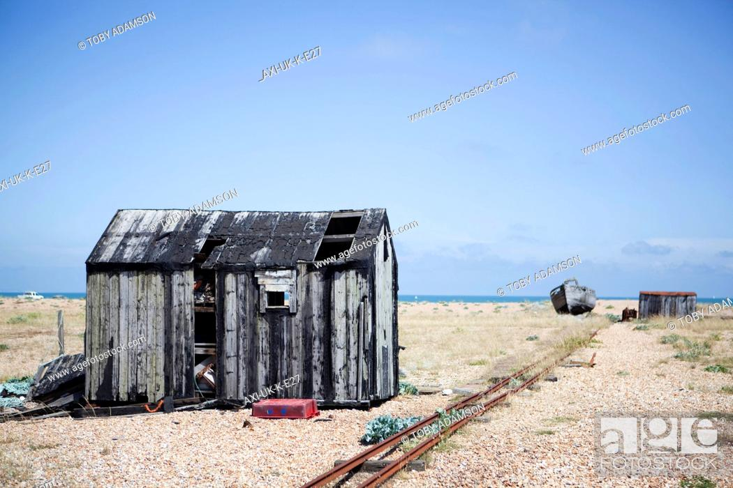Stock Photo Old Fishermen S Huts On The Beach In Dungenessdungeness Kent