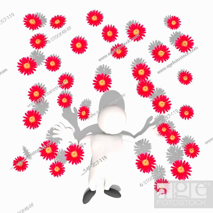 Stock Photo: Anthropomorphic figure lying amidst red blossoms, CGI.