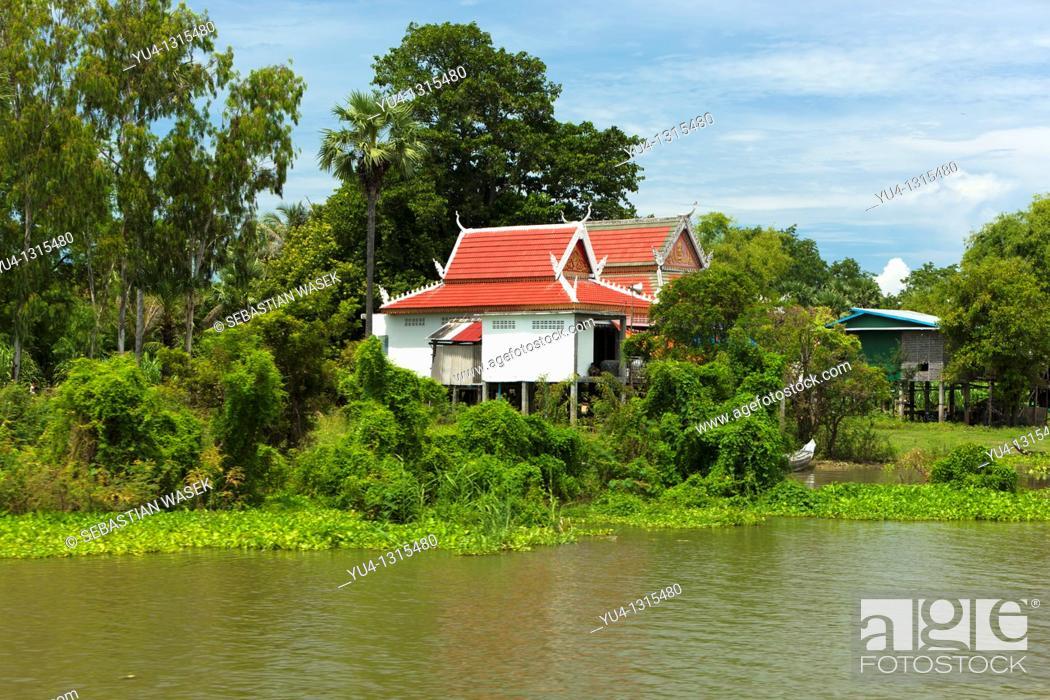 Stock Photo   Traditional Stilt House On Tonle Sap River Cambodia
