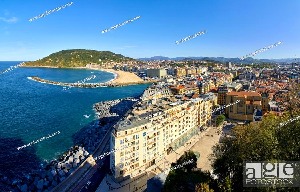 Stock Photo: Plaza Zuloaga, Mouth of the Urumea River, La Zurriola Beach, Donostia, San Sebastian, Gipuzkoa, Basque Country, Spain, Europe.