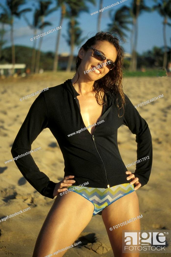 Stock Photo: beach, black, released, wearing, model.