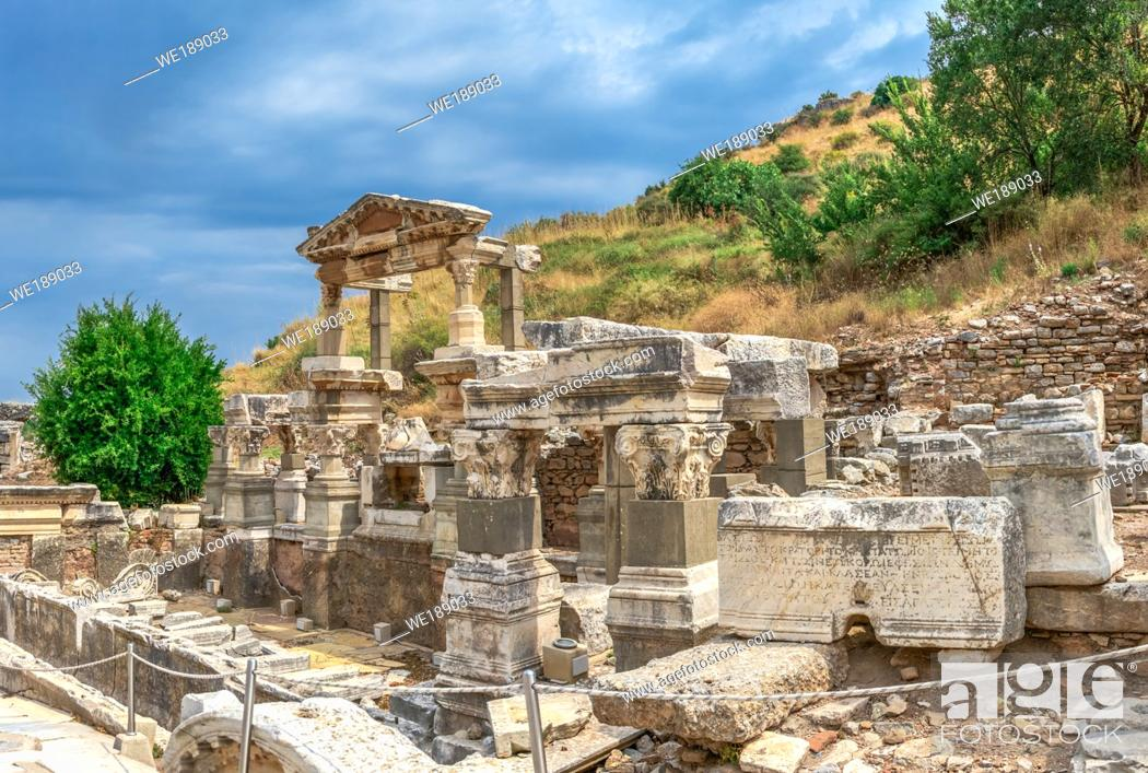 Stock Photo: Ruins of The Fountain of Trajan in antique Ephesus city on a sunny summer day.
