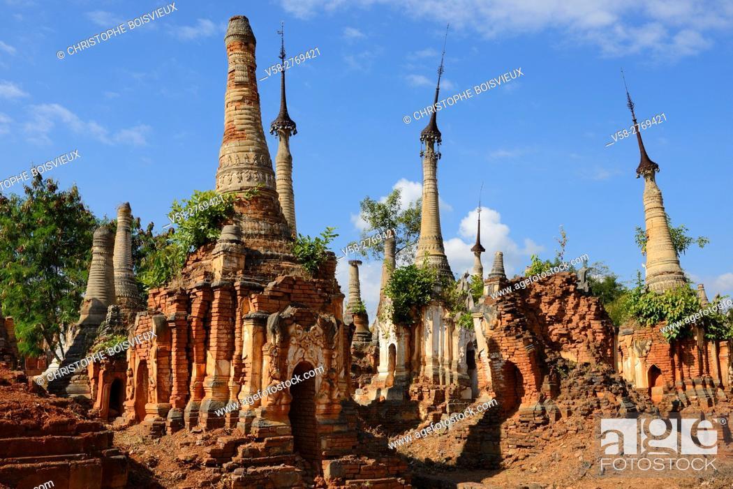 Stock Photo: Myanmar, Shan State, Inle Lake, Indein (Inthein) village, Ruined stupas.