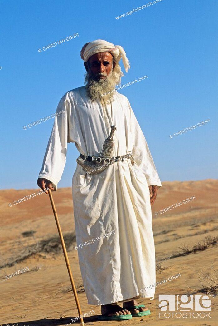 Stock Photo: old bedouin man in Wahiba sands, Sultanate of Oman, Arabian Peninsula, southwest Asia.