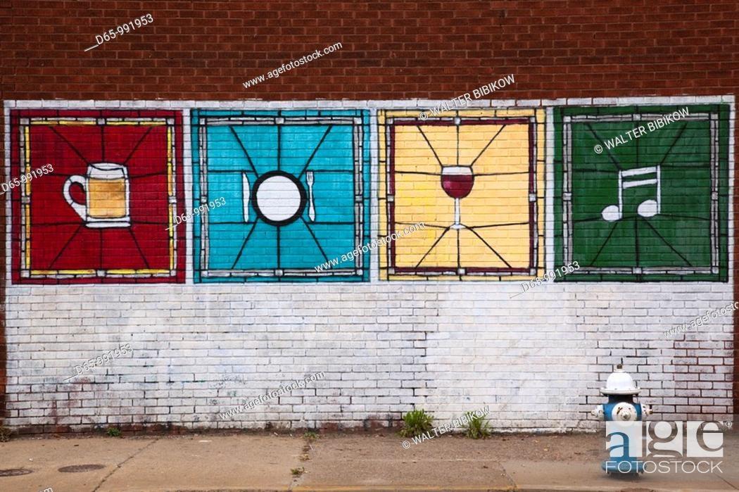 Stock Photo: USA, West Virginia, Charleston, wall mural, Lee Street East.