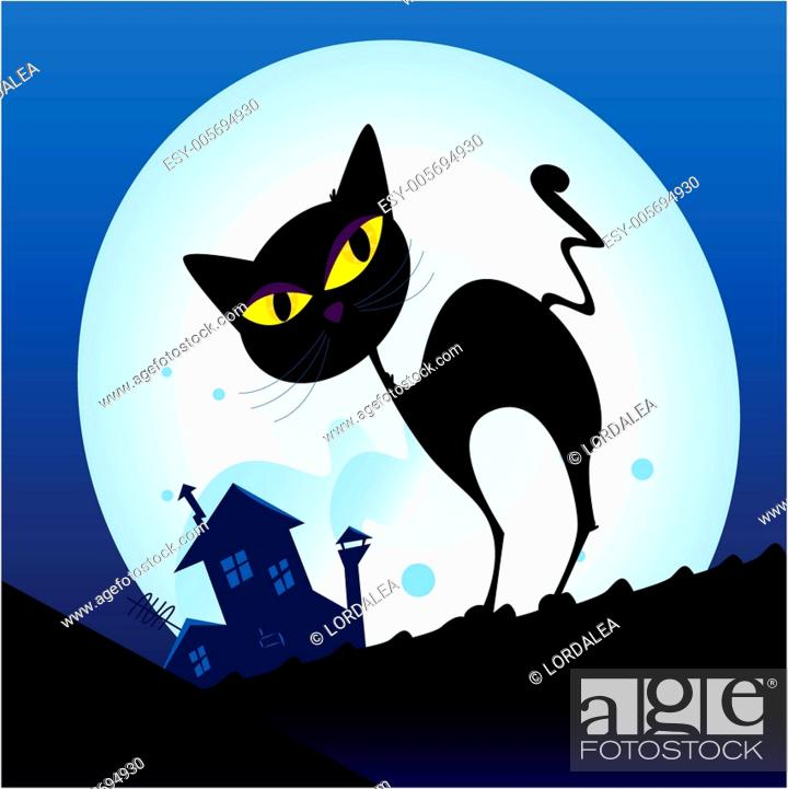 Stock Vector: Black cat silhouette in night town.