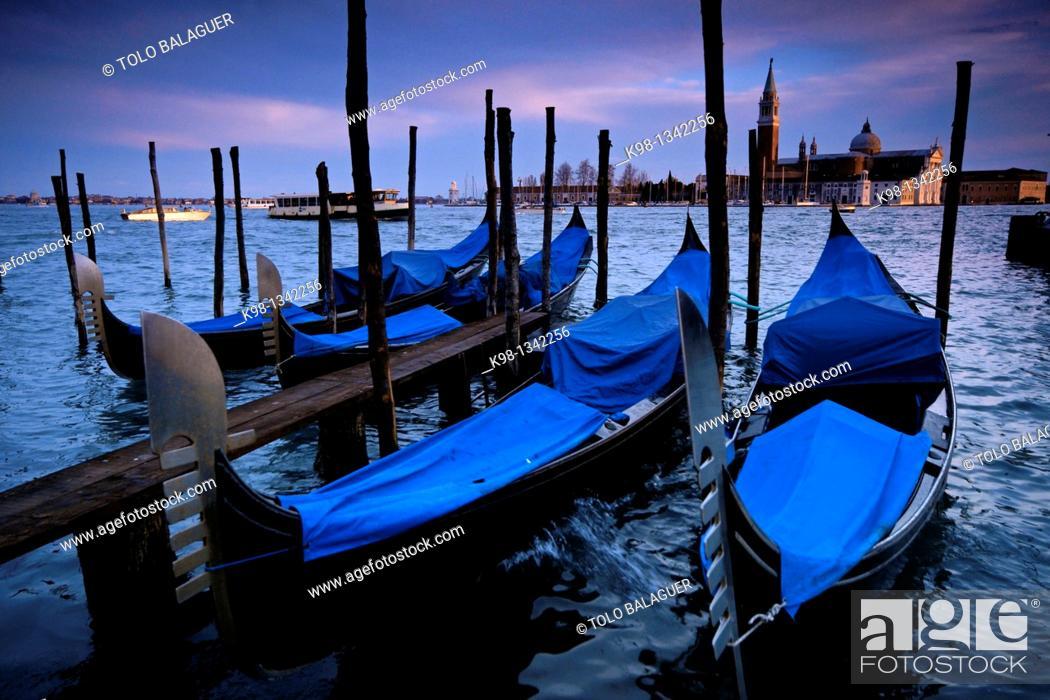 Stock Photo: Gondolas in front of San Giorgio Maggiore Venice Veneto Italy.