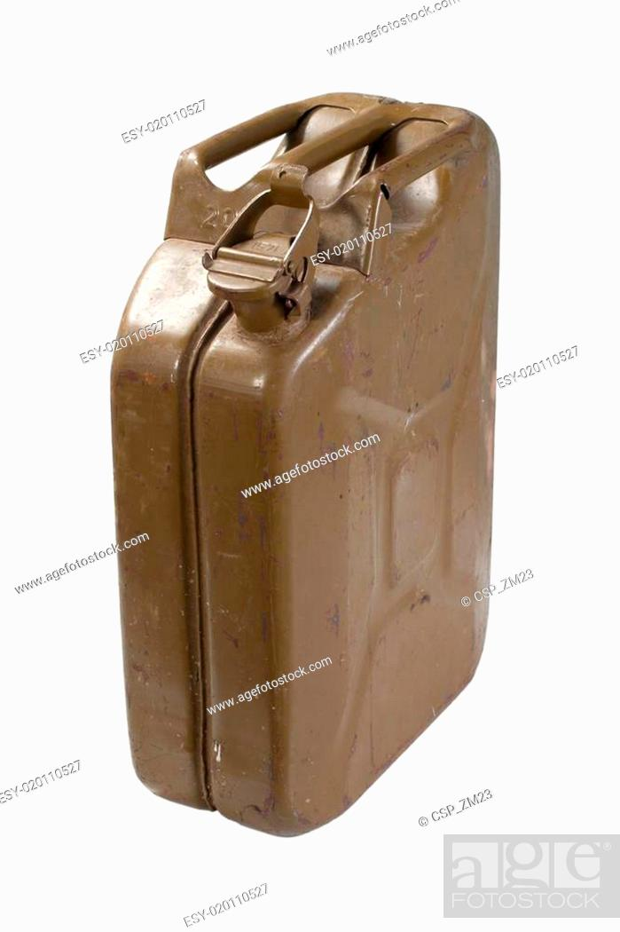 Stock Photo: old green jerrycan isolated on white background.