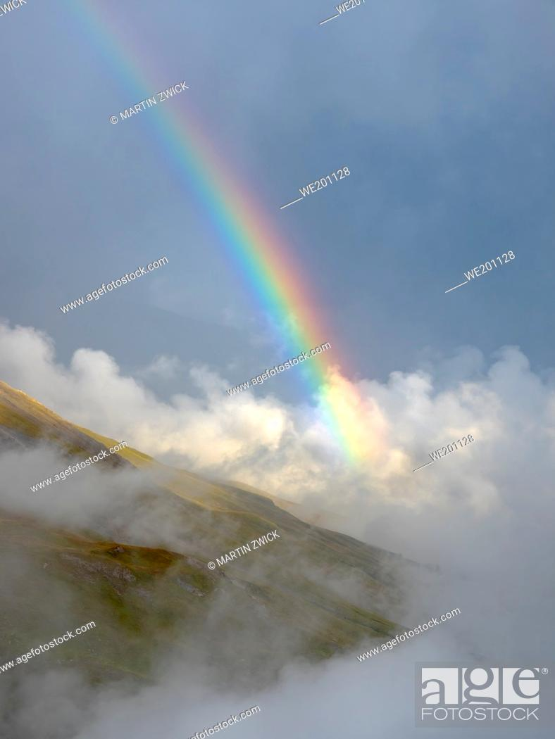 Stock Photo: Landscape with rainbow and clouds in the National Park Hohe Tauern (High Tauern) near Franz-Josephs-Hoehe. Europe, Austria, Carinthia.