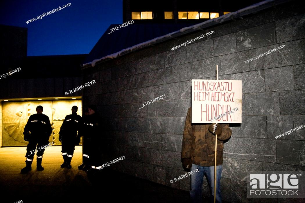 Stock Photo: Demonstrators at The Central Bank of Iceland  They are demanding that Central Bank manager Davíð Oddson steps down and takes his responsibility for the.