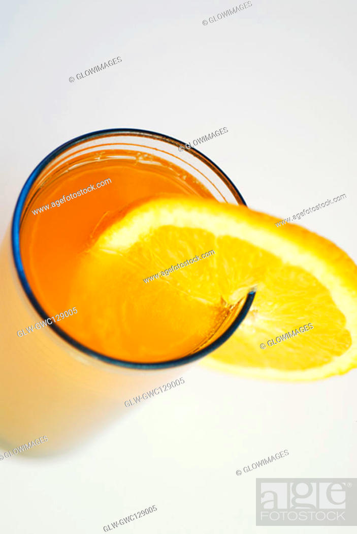 Stock Photo: High angle view of orange juice in a glass.
