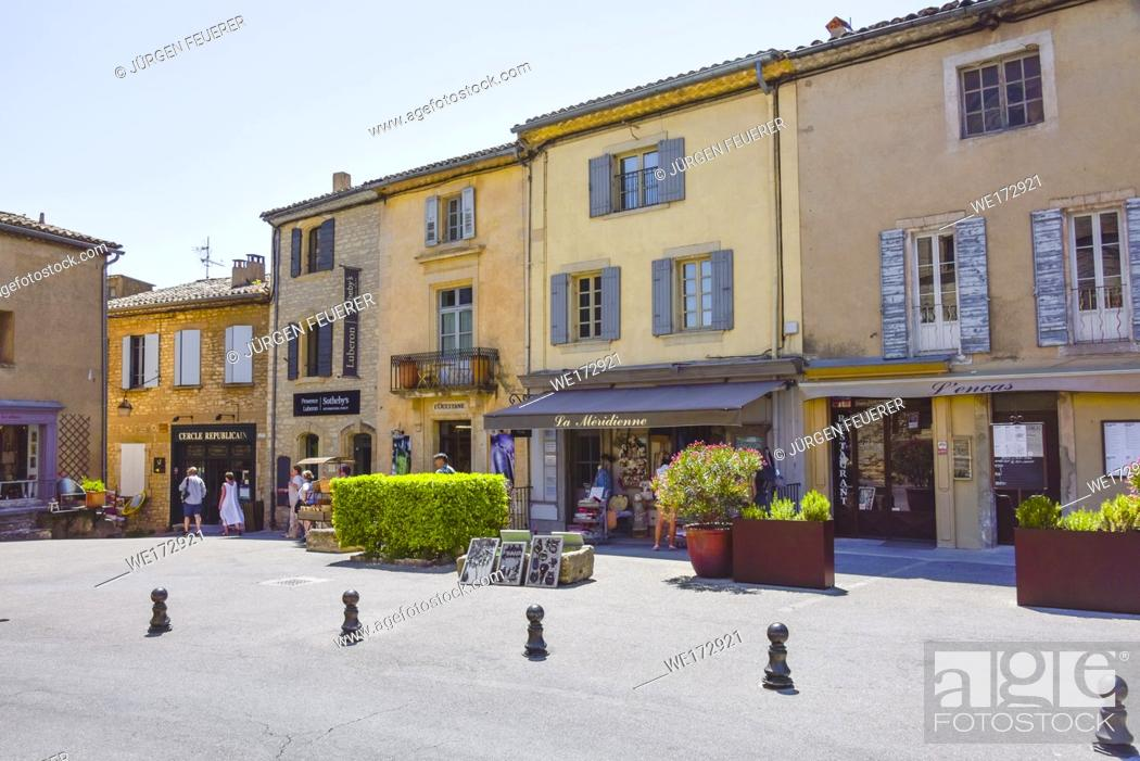 Stock Photo: square with colourful houses of village Gordes, Provence, France, member of Les Plus Beaux Villages de France, Most Beautiful Villages of France.