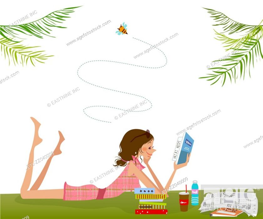 Stock Photo: Side profile of a woman lying on the grass and reading a book.