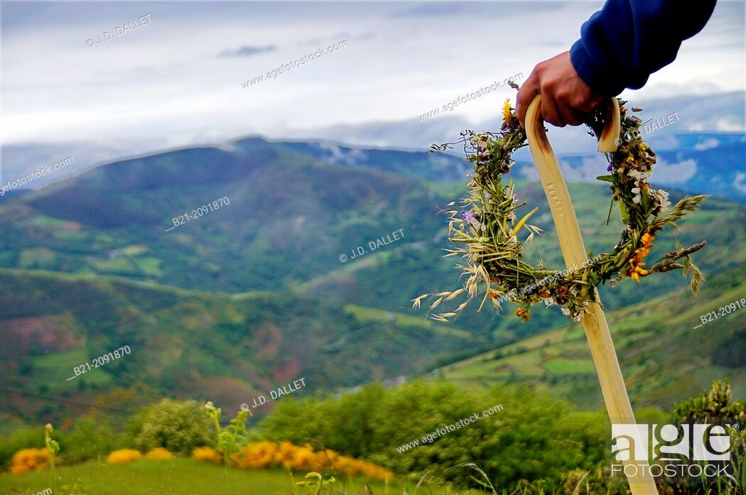 Stock Photo: O Cebreiro mountain pass, Lugo province, Galicia, Spain.