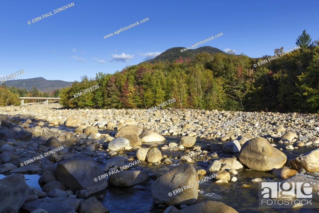 Stock Photo: Black Mountain from the along the East Branch of the Pemigewasset River in Lincoln, New Hampshire during the autumn months.