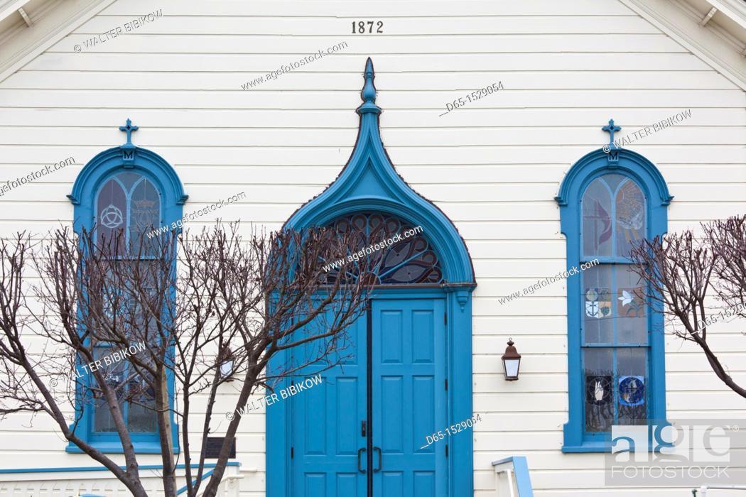 Stock Photo: USA, California, San Francisco Bay Area, Half Moon Bay, doorway of the Community United Baptist Church.