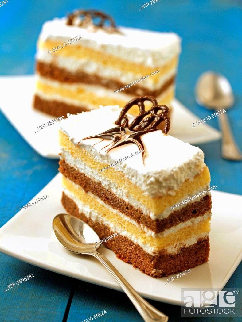Stock Photo: Layered sponge cake.