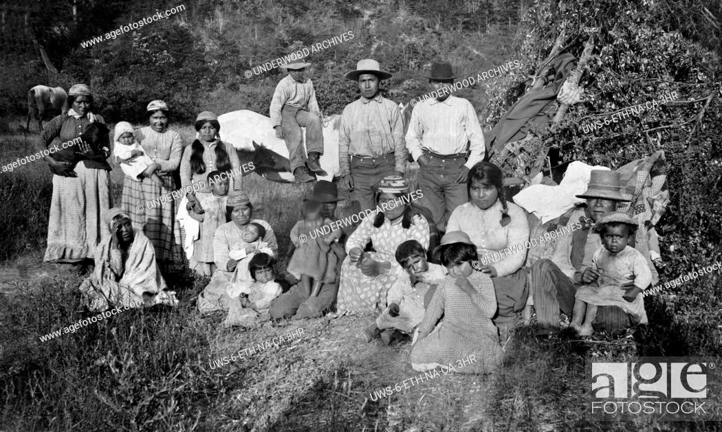 Stock Photo: Klamath River, California: c. 1890.A portrait of a group of Hupa Native Americans in Northern California.