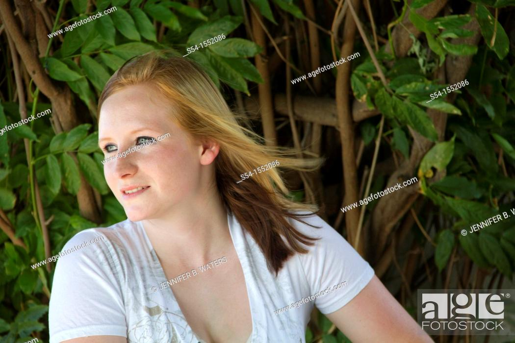 Stock Photo: A happy young woman in Lewiston, Idaho, USA.