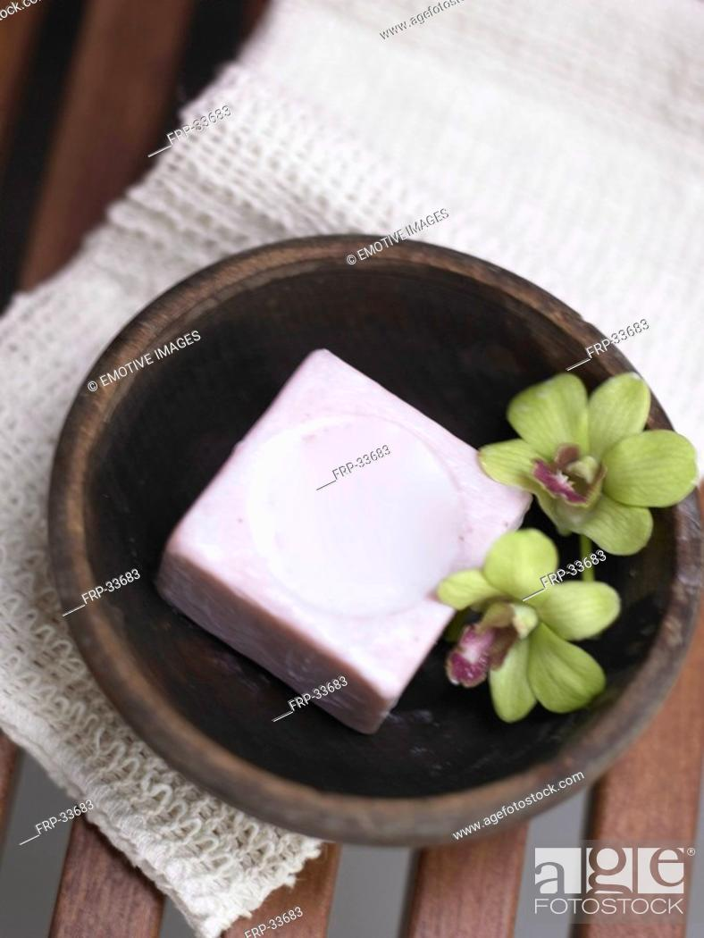 Stock Photo: soap in wooden dish.