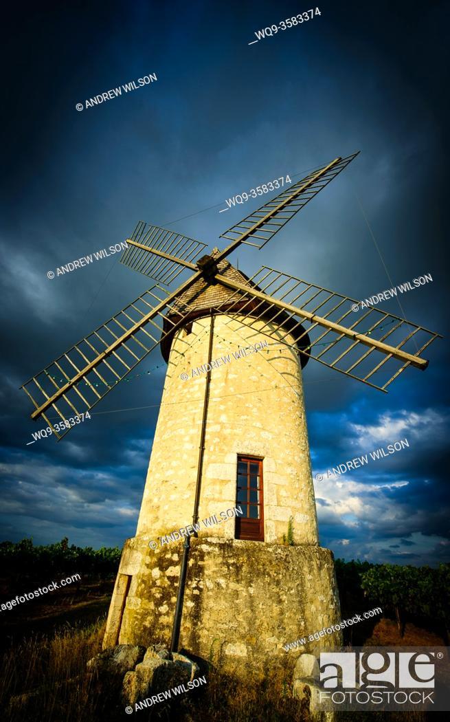Stock Photo: Moulin de Cante Ruch in Villeneuve de Duras, Lot et Garonne, France.
