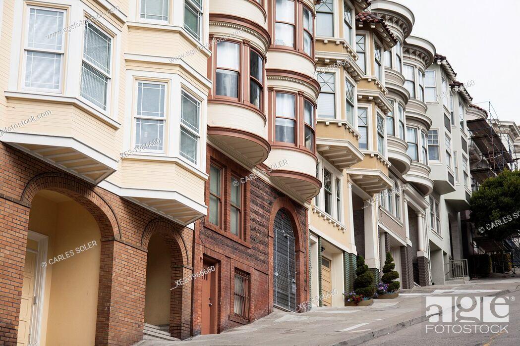 Stock Photo: Victorian houses, Taylor Street, San Francisco, California.