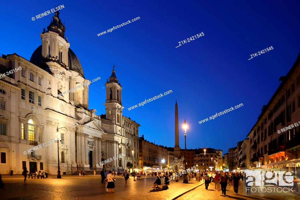 Stock Photo: Italy. Rome. Piazza Navona Sant Agnese in Agone.