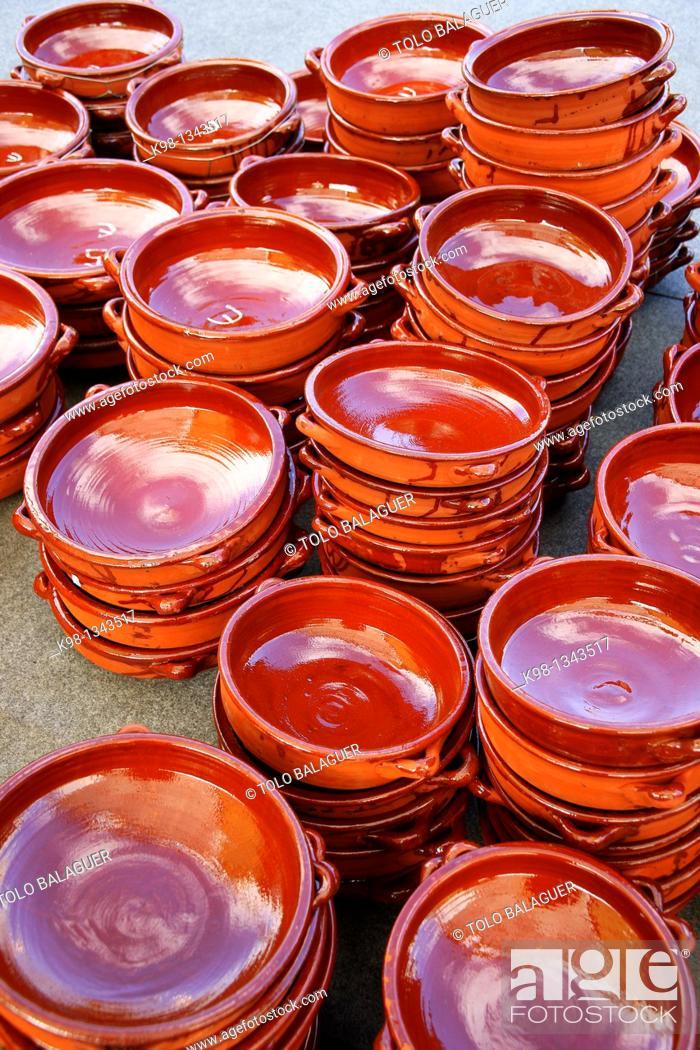Stock Photo: Clay casseroles, Marratxi, Majorca, Balearic Islands, Spain.