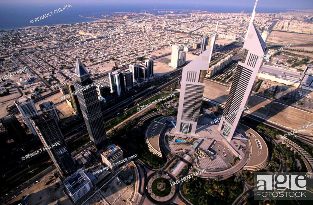 United Arab Emirates, Dubai, Emirates Towers, office building and ...