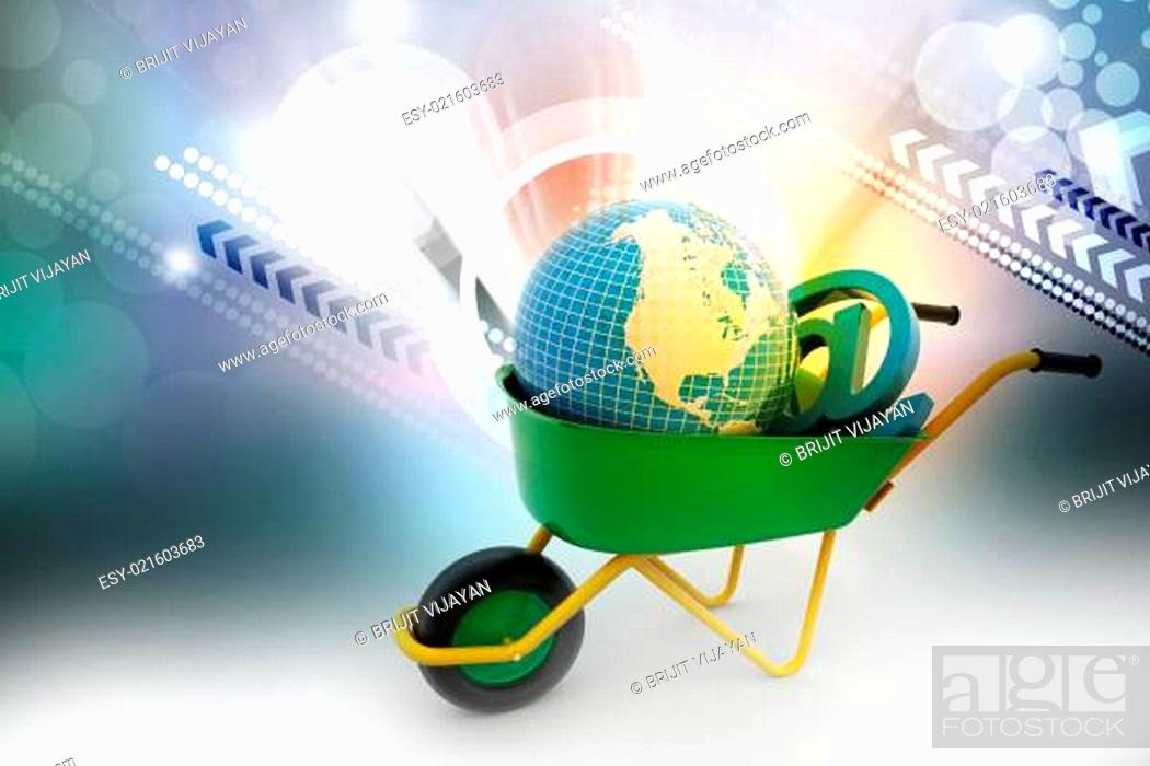 wheelbarrow carrying earth and email sign stock photo picture and