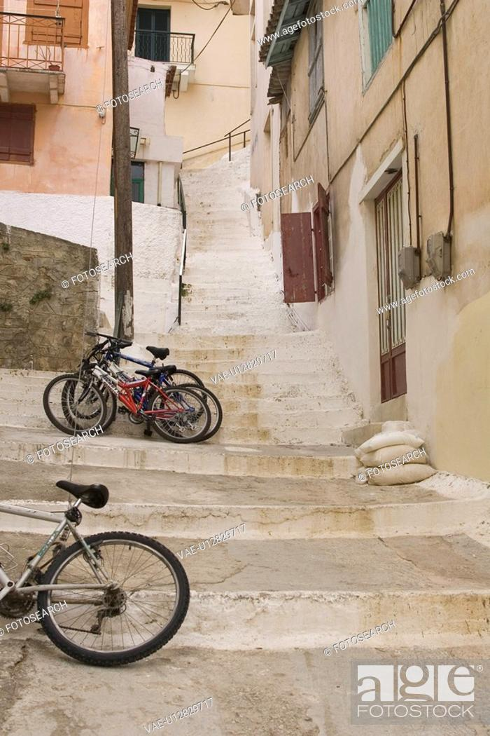 Stock Photo: Balcony, Building Structure, Building Exterior, Bicycle, Alley.